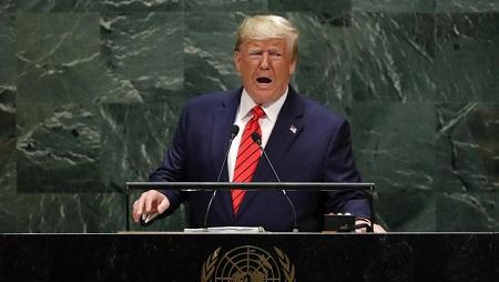 Donald Trump à la tribune de l'Assemblée générale de l'ONU à New York, le 24 septembre 2019. REUTERS/Lucas Jackson