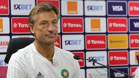 Hervé Renard, le 30 juin 2019 en conférence de presse au Caire pendant la CAN 2019. Nader Nabil / AFP