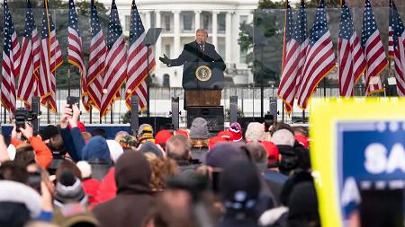 Le président Donald Trump s'adresse à ses partisans à Washington, le 6 janvier 2021. AP - Evan Vucci