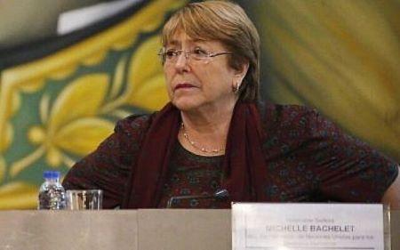 La haute-commissaire des droits de l'Homme Michelle Bachelet pendant une réunion avec le ministre de l'Education du Venezuela Aristóbulo Istúriz au ministère des Affaires étrangères de Caracas, le 20 juin 2019 (Crédit : AP Photo/Ariana Cubillos)